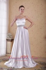 Best Ivory Empire Sweetheart Floor-length Beading Satin Prom / Pageant Dress