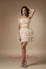 Champagne A-line Strapless Mini-length Organza Beading Cocktail Dress  Cocktail Dress