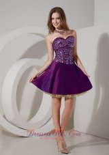 Elegant Purple Cocktail Dress A-line Sweetheart Taffeta and Sequin and Tulle Mini-length  Cocktail Dress