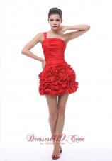 One Shoulder Hand Made Flowers With Beading Ruch Mini-length Red 2013 Prom / Cocktail Dress  Cocktail Dress