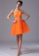 Pretty Orange Beaded Decorate Waist Organza One Shoulder Mini-length Cocktail Dress  Cocktail Dress