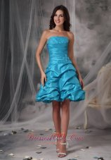 Cheap Aqua Blue Cocktail Dress A-Line / Princess Strapless Taffeta Beading Mini-length  Cocktail Dress