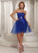 A-line Peacock Blue Sequins Over Skirt Mini-length Strapless Prom / Cocktail Dress Online  Cocktail Dress