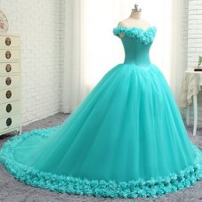 Off the Shoulder Aqua Blue Cap Sleeves Tulle Court Train Lace Up Sweet 16 Dresses for Military Ball and Sweet 16 and Quinceanera