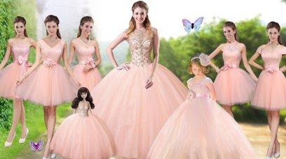 Unique Sleeveless Tulle Floor Length Lace Up Quinceanera Gowns in Peach for with Beading