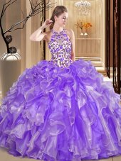 Sumptuous Lavender Ball Gown Prom Dress Military Ball and Sweet 16 and Quinceanera and For with Embroidery and Ruffles Scoop Sleeveless Backless