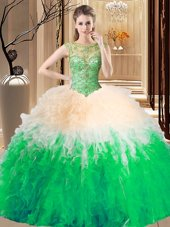 Floor Length 15th Birthday Dress Scoop Sleeveless Lace Up