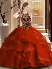 Scoop Embroidery and Ruffles Quinceanera Gowns Rust Red Backless Sleeveless Brush Train