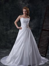 Ideal One Shoulder White A-line Beading and Lace and Hand Made Flower Wedding Gowns Lace Up Tulle Sleeveless