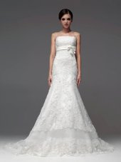 White Strapless Neckline Lace and Appliques Wedding Dress Sleeveless Lace Up