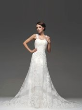 Smart White Bridal Gown Wedding Party and For with Lace and Appliques Straps Sleeveless Brush Train Lace Up
