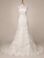 Discount Brush Train A-line Wedding Dress White Strapless Lace Sleeveless Floor Length Lace Up